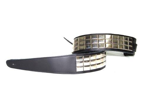 Military Stud - Jodi Head Blk Military Leather 2.5 w/ Nickel Studs & Adjustable Tail Guitar Strap