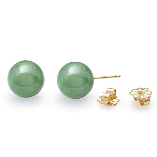 14K Yellow Gold Natural Green Jade Round Stud Earrings (10mm) (Authentic Stud Earrings)