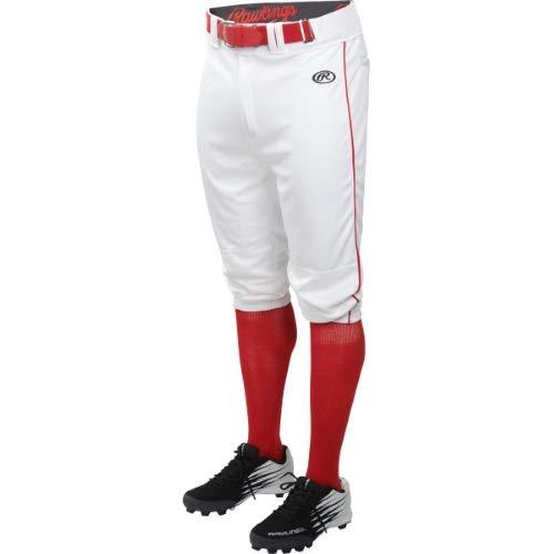 Rawlings LNCHKPP-W/S-91, White/Scarlet, X-Large - Piping Jersey Softball