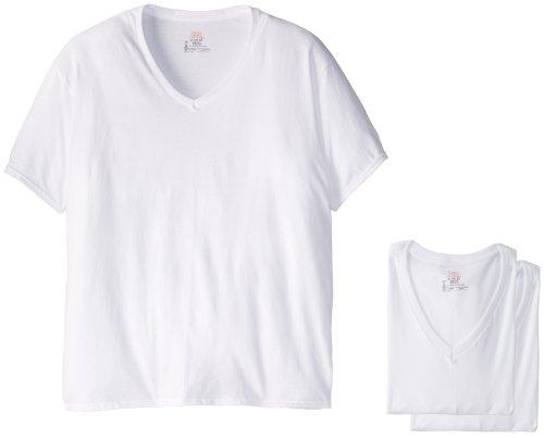 Hanes Ultimate Men's Hanes Classics 5 Pack White V-Neck T Shirt (2XL), XX-Large - Ultimate V-neck Tee