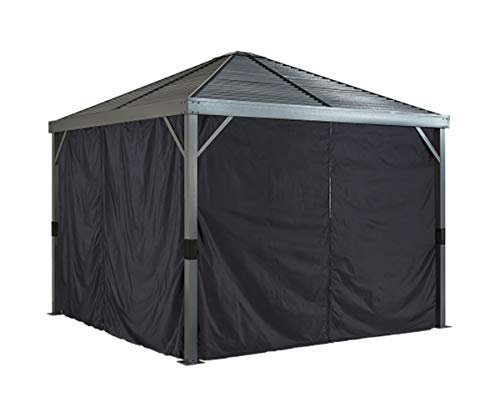Sojag Accessories Set of 4 8' x 8' Curtains for Sanibel Outdoor Gazebo, Black -