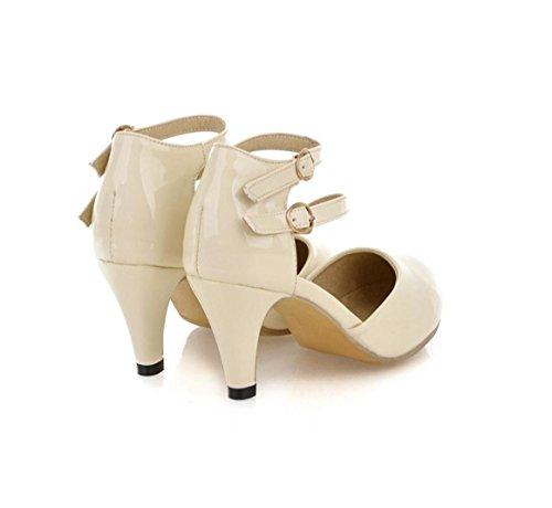 Creuses En Bouchon De Mot Avec Cuir Hauts Highxe Sac Taille Beige Verni Des Chaussures Pointe Talons Dents Orteil Simples Grande Un Dames 41custom FJclK13T
