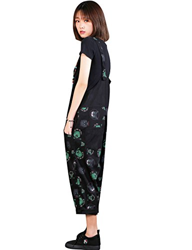 Zoulee Women Strap Rompers Jumpsuits Denim Casual Bib Pants Floral Wide Leg Cropped Pants Overalls Style 4 Black by Zoulee (Image #4)
