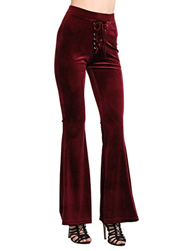 NORMOV Lace Up Velvet Bell Bottoms-High Waisted Palazzo Flared Pants for Women Solid Color Flares