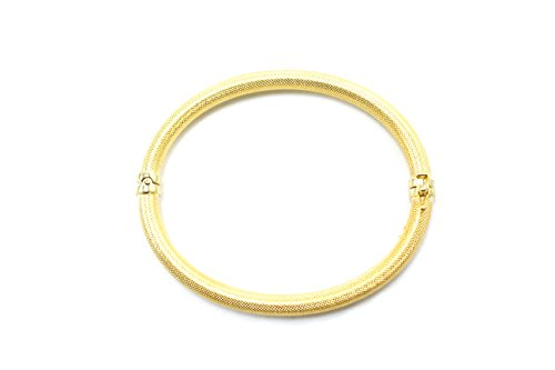 Solid-14k-Yellow-Gold-Mesh-Bangle-5mm