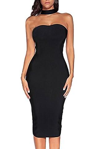 ALAIX Women's Sassy Choker Neck Halter Bodycon Bandage Sleeveless Evening Dinner Dress Black-S - Sexy Black Slinky