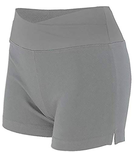 Lycra Activewear - Women's Spandex Yoga Activewear Shorts with Slimming Fold Over Waist (Large, Grey)