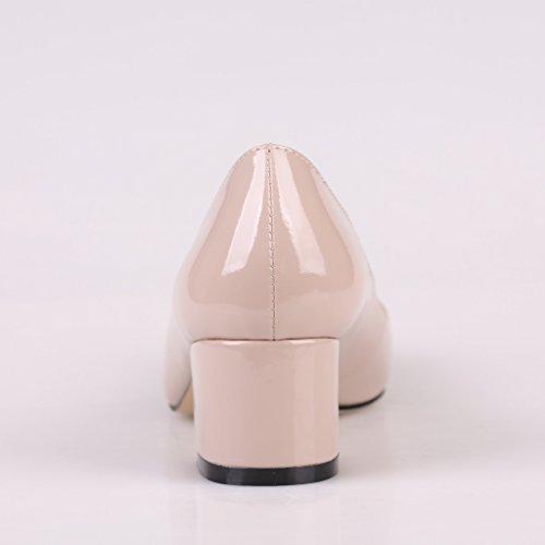 Kolnoo Damen 50mm Blockabsatz pumps Spitze Metallischen Glanz Lackleder Geschlossen Kleidschuhe Beige