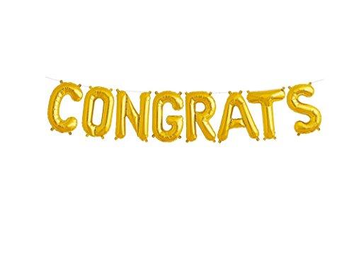 Congrats Grad Auto - EBTOYS Congrats Balloons Gold Alphabet Balloons Aluminum Film Balloon for Graduation Party Favor,16inch (Gold)