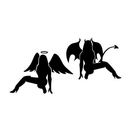 Leon Online Box Girls Angel Versus Devil - Tribal Decal [Choice] Vinyl Sticker for Car, Bike, iPad, Laptop, MacBook, Helmet