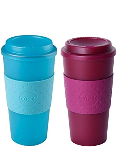 Copco Acadia Double Wall Insulated 16 oz Travel To Go Mug with Non-Slip Sleeve, Set of 2, Commuter Friendly, Drink On the Go (Translucent Teal/Translucent Marsala Red) 16 Oz Translucent Travel Mug