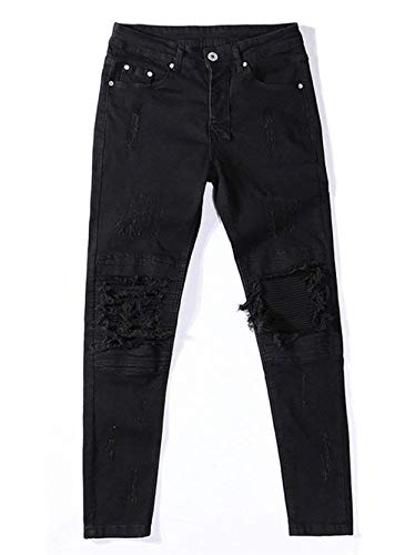 Vintage Classiche Pantaloni Ragazzi Alla Jeans Denim Slim E Strappati Elasticizzati Fit Da Uomo Nero Moda pqqwFxg78