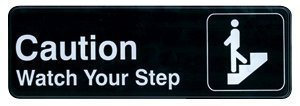 Winco SGN-326 Sign, 3-Inch by 9-Inch, Caution/Watch Your Step (2-Pack)