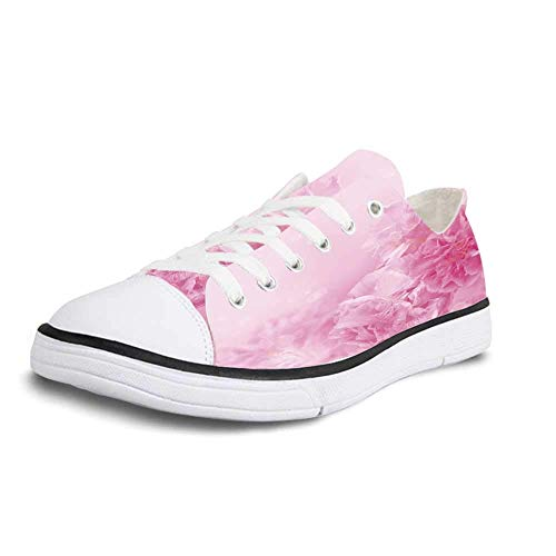 (Canvas Sneaker Low Top Shoes,Light Pink Spring Flowers Close Up Florets Bouquet Elegance Beauty Wedding Shabby Chic Print Decorative Women 5)