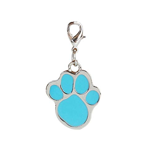 Aland Paw Dog Puppy Cat Anti-Lost ID Name Tags Collar Pendant Charm Pet Accessories Stainless Steel 8-Color Footprint Dog Tag Pet Identity Card Blue from Aland