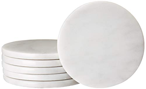 (CraftsOfEgypt Set of 6 - White Marble Stone Coasters – Polished Coasters – 3.5 Inches (9 cm) in Diameter – Protection from Drink Rings)