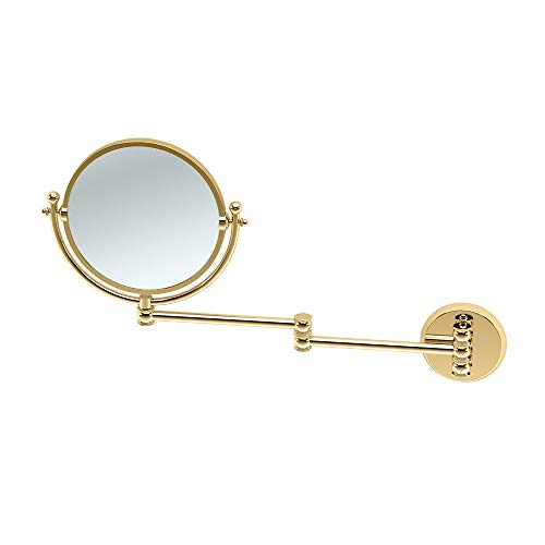 Gatco 1410 Wall Mount Mirror with 14-Inch Swing Arm Extents, Brass