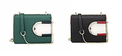 Paquete de cadena XinMaoYuan Color sólido mango telescópico hombro Bolso Messenger sección Horizontal Pu Bolsa hebilla magnética,verde Negro