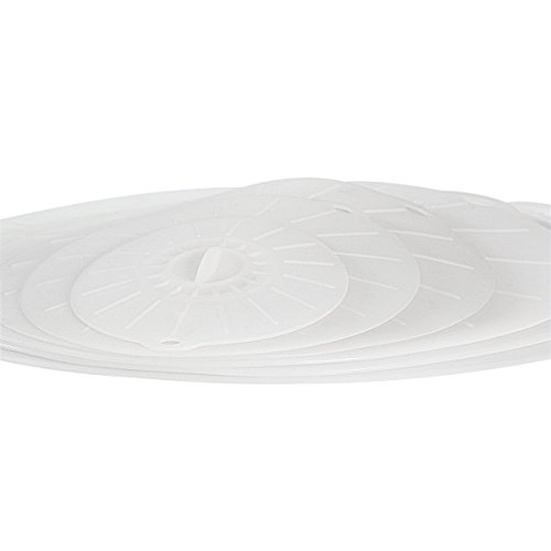 Super Kitchen Microwave Silicone Suction Lids for Bowls and Skillets, Set of 6 (14, 12, 10, 8, 6, 4 -Inch) - Clear
