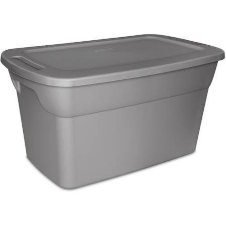 Sterilite 30 Gallon Tote Plastic Storage Box- Steel with Lid, Case of 6 (30 Gallon Tote)