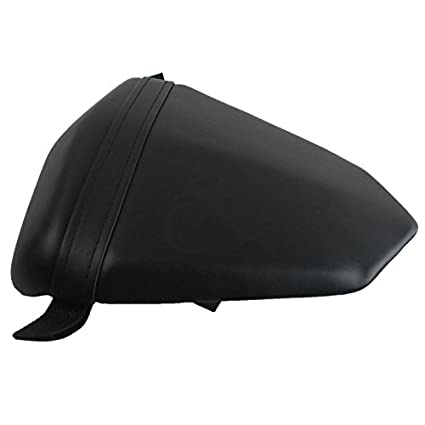 XFMT Black Motorcycles Leather Rear Pillion Passenger Cushion Seat Compatible with Yamaha YZF R1 YZF-R1 2004 2005 2006