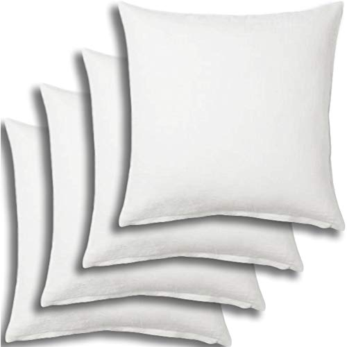 Set of 4 - Pillow Insert 36x36 Decorative Throw Pillow Inserts - Euro Sham Stuffer for Sofa Bed Couch Square White Form 4 Pack - Hypoallergenic Machine Washable and Dry Polyester - Made in USA