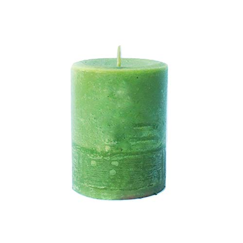 Green Pillar Candle In Caramel Pear by Everything Dawn Bakery ()