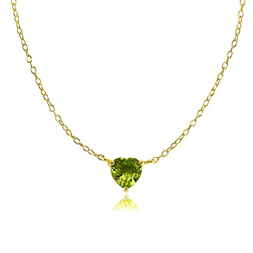 Ice Gems Yellow Gold Flashed Sterling Silver Small Dainty Peridot Heart Choker Necklace