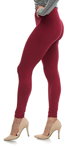 Lush Moda Extra Soft Leggings in Solid Colors - Burgundy