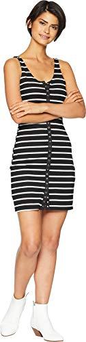 Lucy Love Women's Snap It Up Dress Black/White Striped Medium