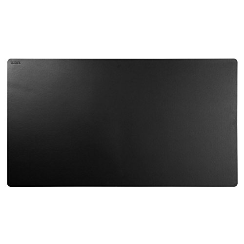 Teather Black Leather Desk Pad PU Leather Desk Mouse Mat Blotters Organizer for Gaming - Writing - Working (34