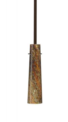 - Besa Lighting 1TT-5674CE-BR 1X50W E12 Camino Pendant with Ceylon Glass, Bronze Finish