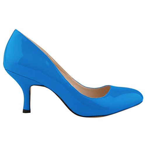 Profondo Tacco Shoes Scarpe col Blu punta Scarpe Scarpe Tacco WanYang Heel a Donna Classiche col Kitten 0WTq86n