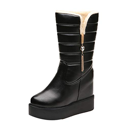 XoiuSyi Bottom Thickening Winter Ladies Boots Velvet Warm Mid-Boots Round Head Snow Boot (Adult Jane Shoes White)