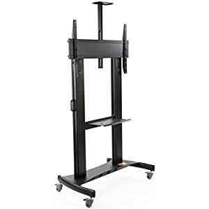 """TV Cart with Wheels, For Monitors Between 60"""" and 100"""", Video Camera Shelf, Steel & Aluminum (Black)"""