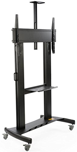 "Price comparison product image TV Cart with Wheels,  For Monitors Between 60"" and 100"",  Video Camera Shelf,  Steel & Aluminum (Black)"