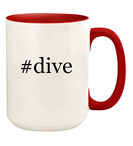 #dive - 15oz Hashtag Ceramic Colored Handle and Inside Coffee Mug Cup, Red