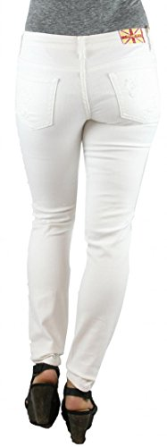 MACHINE JEANS White Destroyed Distressed Skinny Jeans - Waist 5