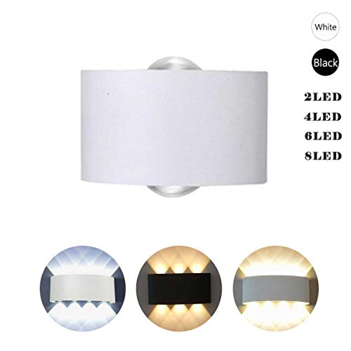 Outdoor LED Wall Lamp Indoor Outdoor waterproof Wall Up Down Light White Light 2 LEDS Modern Simple Lighting Fixtures Indoor Wall Mount Sconce for Hallway Living Room Bedroom Garden(White,White - Mount Outdoor Wall Arc