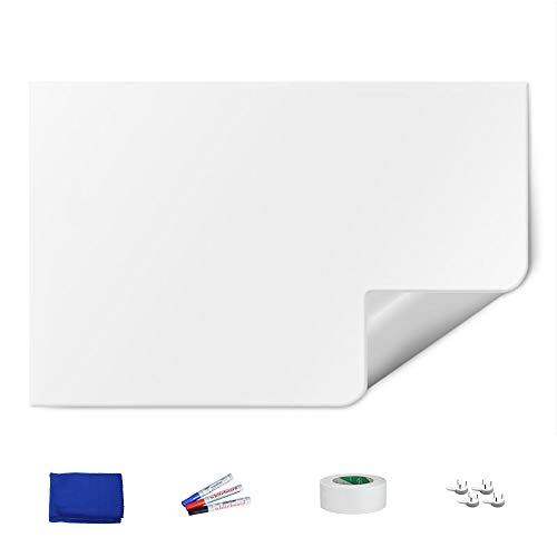 Magjump Large Dry Erase Board Porcelain WhiteBoard Sticker for Wall with Maker Pen Accessory for Office/Home/Classroom -White, 47 X 70 Inch