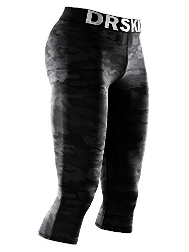DRSKIN Men's 3/4 Compression Tight Pants Base Under Layer Running Shorts Warm Cool Dry 3Pack (Classic MBB802, M)