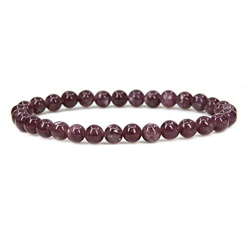 Natural Lepidolite Lithium Mica Gemstone 6mm Round Beads Stretch Bracelet 7