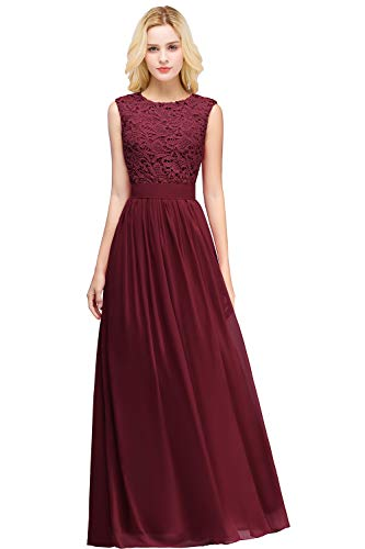 MisShow Burgundy Wedding Party Dresses Lace Applique Evening Gowns Burgundy 14