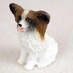 Papillon Miniature Dog Figurine - Brown & White