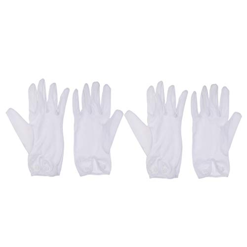 (Baosity 2 Pair Lightweight White Cotton Referee Gloves for Snooker Pool Cue Billards)