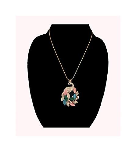 - Nataliya Multicolor Crystal Peacock Pendant Necklace