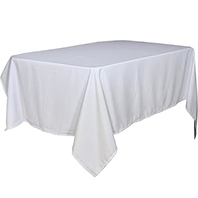 60 x 126-Inch - White Tablecloth - 100 Percent Polyester Rectangular Table Cover - By Utopia Kitchen