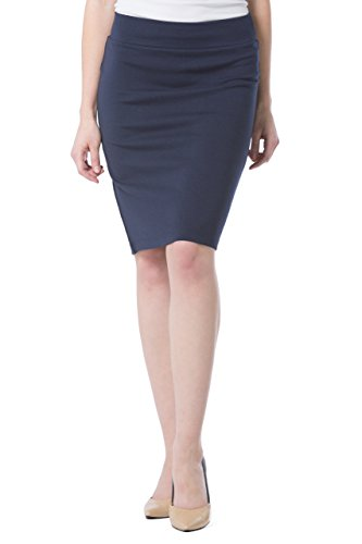 - Fishers Finery Women's Ecofabric Ponte Stretch Pencil Skirt; Pull On (Navy, M)