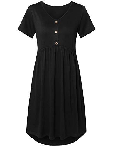 FANSIC Womens Summer Short Sleeve Pockets Loose Swing Casual Midi Flare Dress Black L (Empire Black In Sleeve Short Dress)