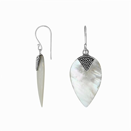 Bali Designs Sterling Silver Fancy Shape Earring with Shell AE-1084-SH